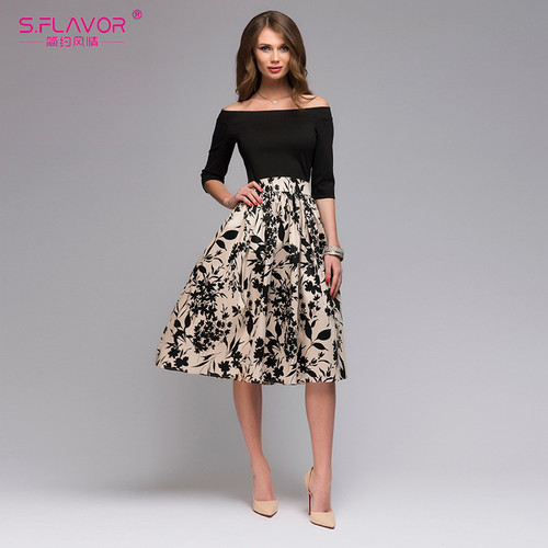 S.FLAVOR Summer autumn Floral Print Patchwork Dress Women Off Shoulder Sexy Party vestidos Female Slash Neck Casual Dresses