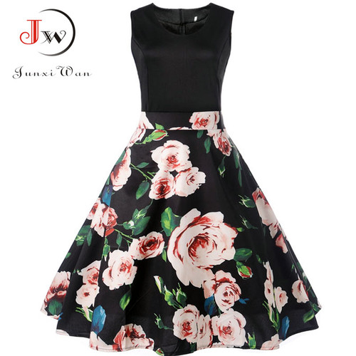 V Neck Sexy 2018 Summer Dress Women Floral Print Patchwork Vintage Dress Hepburn 50s Elegant Party Dresses Plus Size Sundress
