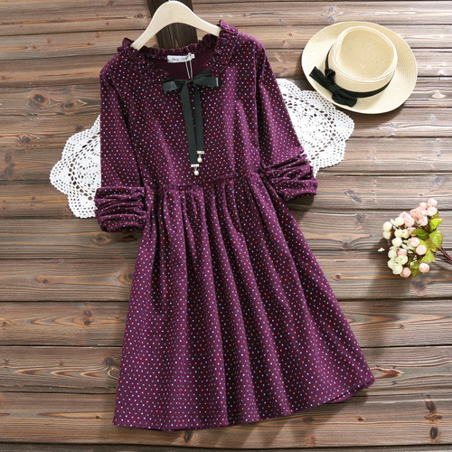 2018 New Cute Women Spring Autumn Mini Dress Ruffled Collar Polka Dot Printed Female Tunic Long Sleeve Vintage Robe Dress
