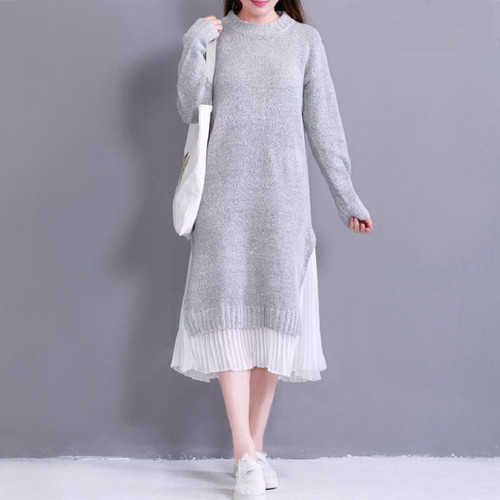 2018 Spring Autumn Women Midi Dress Round Neck Knitted Chiffon Patchwork Sweater Dress Casual Elegant Long Sleeve Split Dresses
