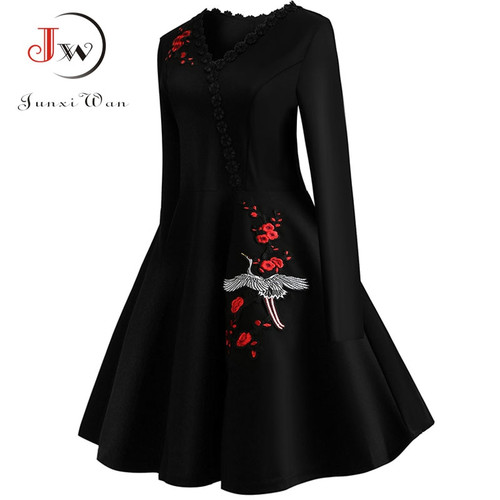 4XL Plus Size Women Embroidery Vintage Dress Lace Black Elegant Bodycon Party Dresses Long Sleeve Casual Autumn Winter Vestidos