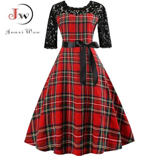 2018 Autumn Lace Retro Vintage Dress Slim Plaid Print Casual Elegant Party Dresses Christmas Bodycon Dress Plus Size Vestidos