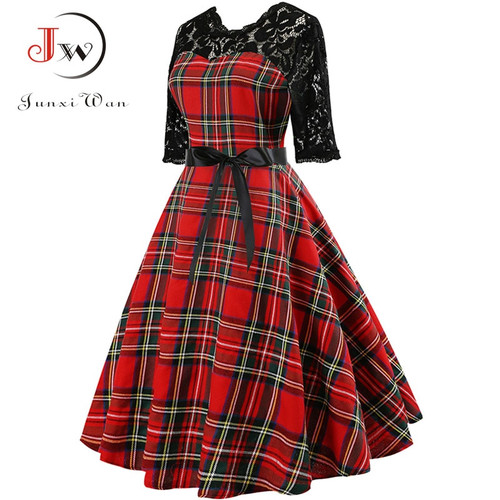 2018 Autumn Lace Retro Vintage Dress Slim Plaid Print Casual Elegant Party Dresses Christmas Bodycon Dress Plus Size Vestidos