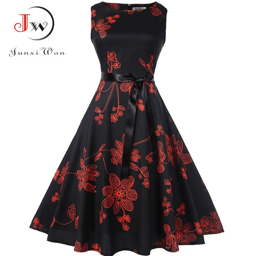 Plus Size Summer Dress 2018 Women Vintage Rockabilly Dresses Jurken Floral 50s 60s Retro Big Swing Pinup Party Dress Vestidos