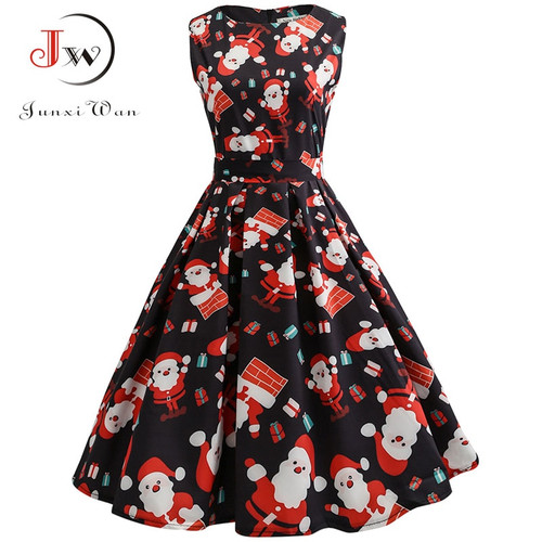 Vintage Dresses Women Casual Elegant Office Work Red Christmas Dress Retro Hepburn O-neck Sleeveless Swing Party Dress Plus Size