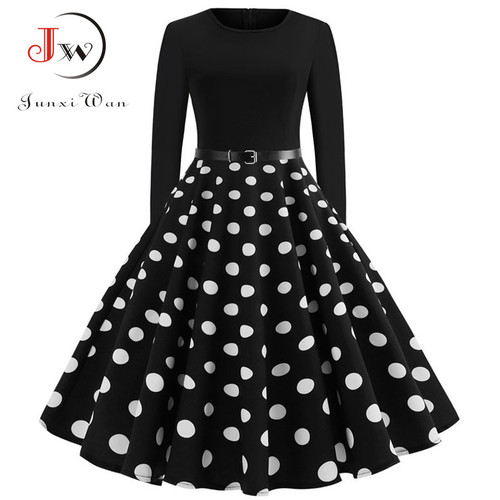 Black Winter Dress Women Polka Dot Patchwork Elegant Vintage Dress Long Sleeve Big Swing Plus Size Party Dresses Casual Chrismas