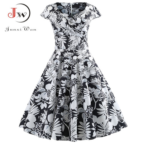 Casual Summer Dress Women 2018 Short Sleeve Hepburn 50s 60s Vintage Elegant Swing Party Dresses Plus Size Floral Slim Vestidos