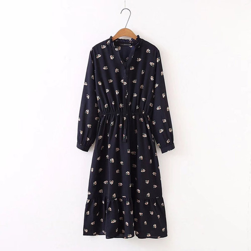 LERFEY Women Plus Size Dress Floral Print Long Sleeve Casual Chiffon Autumn Dresses Vintage Ruffles Pleated Bow Dress Vestidos