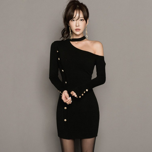 2018 Autumn Knitted Party Dress Halter Bodycon Long Sleeve Button Black Off Shoulder Mini Sexy Club Women Dresses Vestidos