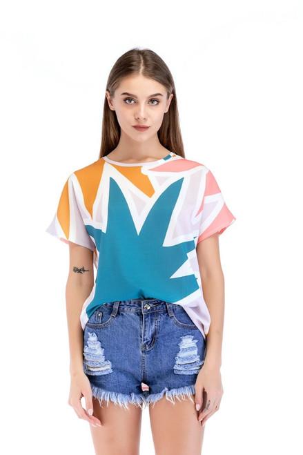 2018 Fashion T Shirt Women Short Sleeve Casual O Neck Floral Print T-shirt Tops Camisetas Mujer Verano T Shirt Femme Multicolor