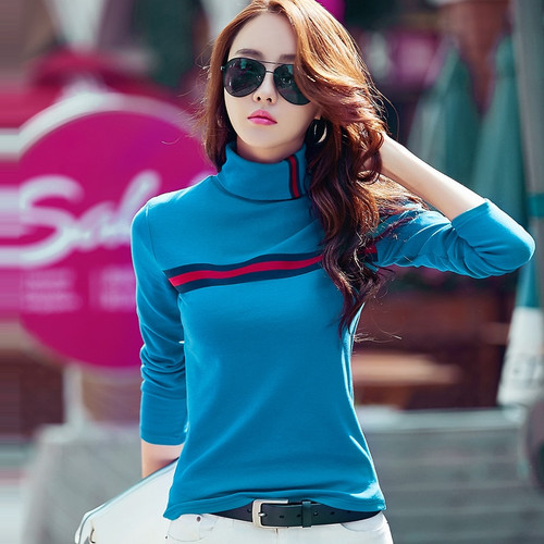 2018 Cotton T Shirt Women  Long Sleeve Autumn Winter Striped Casual Turtleneck Basic Warm Tops Tee Thick Lady T-shirt Plus Size