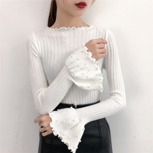 2018 Autumn Flare Sleeve Slim Body Cotton Sweaters Women Beading Long Sleeve Knitted Pullovers O Neck Ladies Solid Sweaters Tops