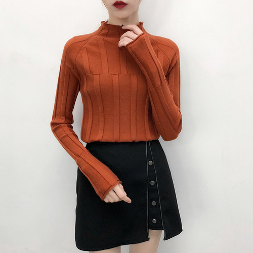 2018 Autumn Winter Women Pullovers Sweaters Knitted Elasticity Long Sleeve Casual Jumper Fashion Turtleneck Warm Female Sweaters