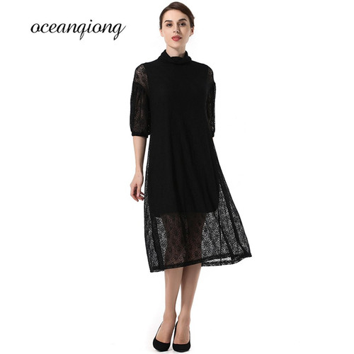Women Lace Party Dress Vestido 2018 Spring Slim Dress Women with Belt Sashes Mesh Dress Half Sleeve Black Dresses Female