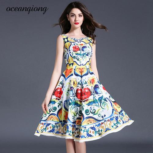 Women Summer Dress Tank Dresses Floral Printed O-Neck Vestidos de Festa Sleeveless Plus Size A-Line Slim Female Dresses 2018