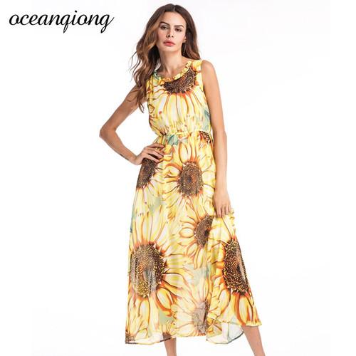 Vestidos Women Chiffon Beach Dresses Women Sexy Long Floral Dress 2018 Summer Women Bohemian Dress Beach Summer Dress Yellow