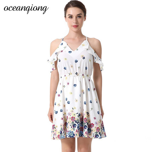Floral Summer Dress Women V Neck Off The Shoulder Print Sexy Beach Dress Holiday Sweet Mini A Line  Ruffle Casual Dress Female