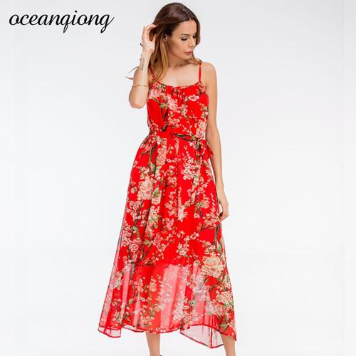 2018 Summer Dress Floral Chiffon Bohemian Style Sleeveless Long Dress Red O Neck Spaghetti Strap Women Dress Beach Hot Vestidos