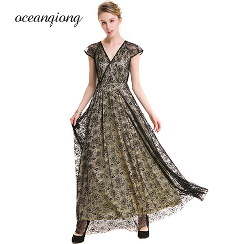 New Fashion Party Dress Maxi 2018 Spring Summer Sexy V Neck Long Lace Dress Vintage Women Party Dress Big Size Female Vestidos
