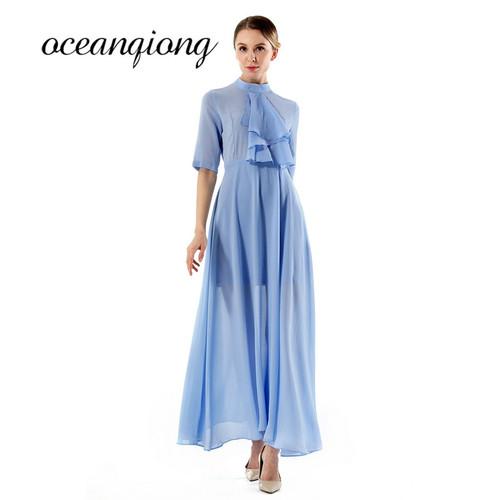 3XL 2018 Spring Women Chiffon Dress Half Sleeve Elegant Party Maxi Dress White Blue Chiffon Long Summer Dress Plus Size New