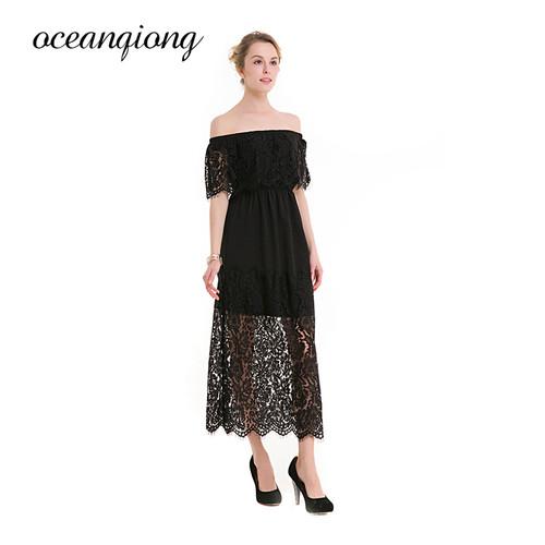 2018 New Lace Dress Black Pink Summer Slash Neck Off Shoulder Elegant Ladies Hollow Out Sexy Long Party Dresses Women Big Size