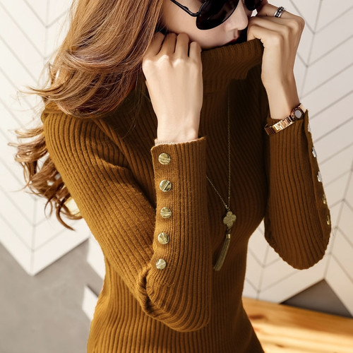 Women Knitted Sweaters Button Turtleneck Pullovers 2018 Autumn Long Sleeve Slim Elastic Ladies Casual Solid Female Top Sweaters