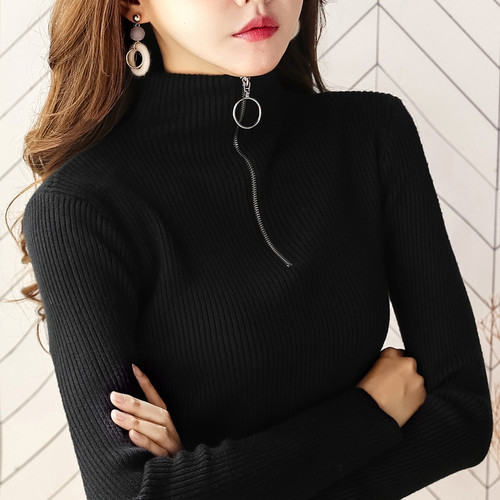 Women Turtleneck Sweaters Pullover  Winter 2018 Solid Casual Long Sleeve Knitted Sweaters Female Elastic Ring Zipper Jumper Tops