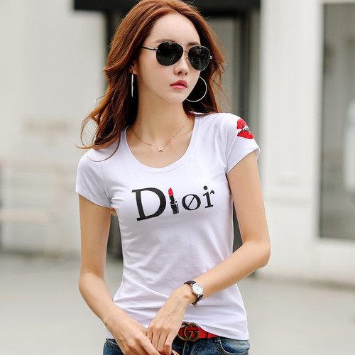 Summer 2018 Women T Shirt Casual Slim Round Neck Diamond Short-sleeved Letters Printed T-shirt Female Cotton Top Tees Plus Size