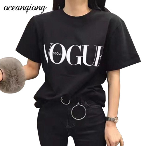 2018 Brand Summer Tops Fashion Clothes For Women VOGUE Letter Printed Harajuku T Shirt Red Black female T Shirt Camisas Tops
