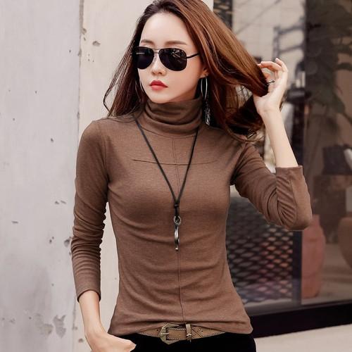 2018 Fashion Autumn Women Tshirt Turtleneck Warm Winter Cashmere T-shirt Tops Slim Casual Long Sleeve T Shirt Women Cotton Tops