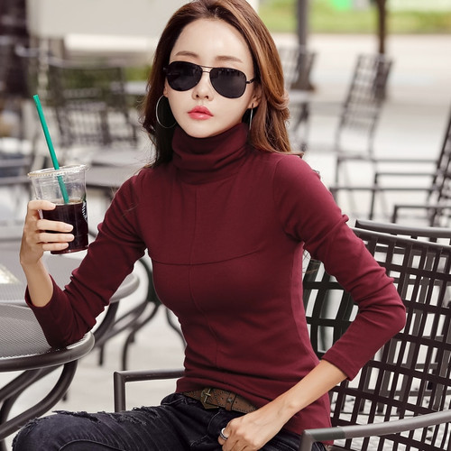 2018 Fashion Autumn Women Tshirt Turtleneck Warm Winter Cashmere T-shirt Tops Slim Casual Long Sleeve T Shirt Women Cotton Tops
