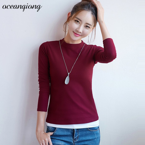 2018 Spring Autumn Women Cotton T-shirts Long Sleeve Solid O Neck Casual Slim Tops Female Ladies Tops Tee Thshirt Plus Size