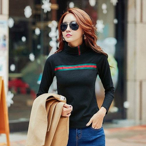 Women Winter T Shirt Warm Basic Tees Solid Turtleneck Long Sleeve Slim Shirts Ladies Plus Size Autumn Tops Casual T-Shirt 3XL