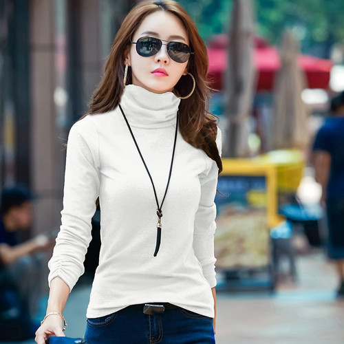 New Casual Cotton Women T Shirt Long Sleeve Turtleneck Velvet Winter Tops Tee Fashion 2018 Bottoming Tshirt Plus Size Female