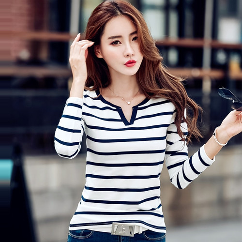 Women Casual Slim Cotton T-shirt 2018 Spring Autumn Long Sleeve V Neck Striped T Shirts Tops Feminine Elegant Tees Plus Size 3XL