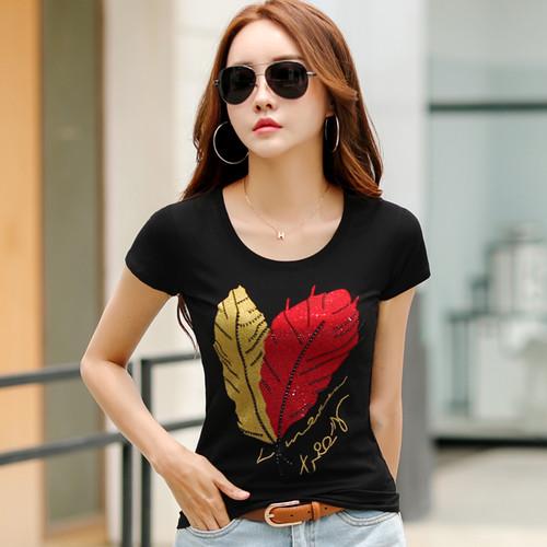 2018 Women Fashion Cotton T-shirt Top Leaf Printed Beading Loose Plus Size Short Sleeve O Neck Harajuku Ladies Casual Shirt Tee