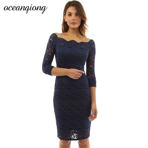 Lace Sexy Women Dress 2018 Spring Dress Women Slash Neck Long Sleeve Hollow Out  Black White Elegant Mini Party Dresses Vestidos
