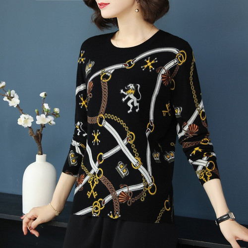 YISU Knitted sweaters 2018 Women Warm Sweater Autumn Winter Printed sweater Loose Casual Pullovers O-neck Long sleeve Sweater
