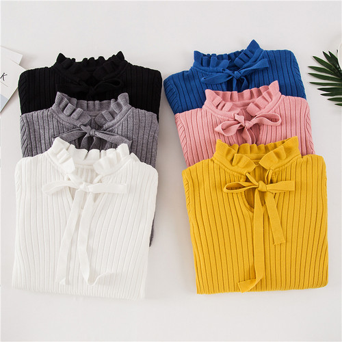 2018 Casual Autumn Women Slim Sweater Winter Knitted Sweater Lace Up Flare Long Sleeve Ruffle Knitting Pullover Womens Sweaters