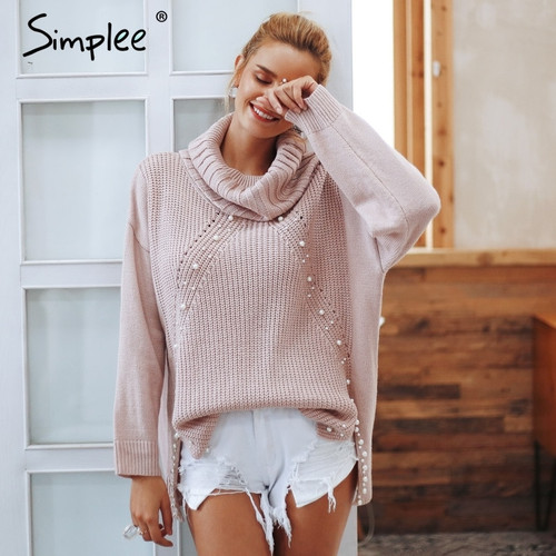 9deba4134e Simplee Beading turtleneck pearl plus size christmas sweater Women 2018  Split casual knitted pullover Autumn long