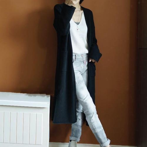 2017 New Fashion Maxi Long Cashmere Sweater Women Cardigan Coat Female Double pocket Knitted Sweaters V-Neck Wool Cardigan