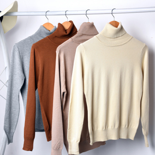 Women Wool Cashmere Sweater Knitted Pullover Female Slim Elastic Knit Sweater Ladies Autumn Winter Turtleneck Knitted Top Basic