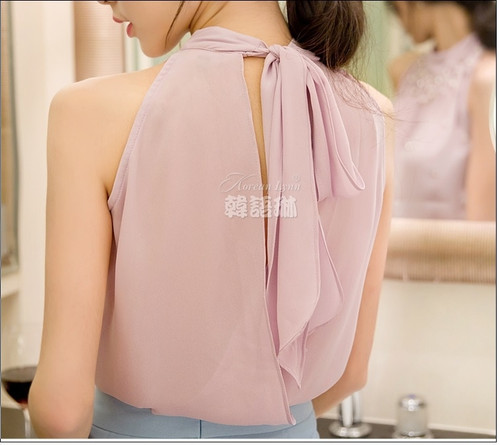 2018 New Women Beading Chiffon Blouse Korean Fashion Sleeveless Women Turtleneck Chiffon Blouse Shirt Women Top S M L XL835I 42