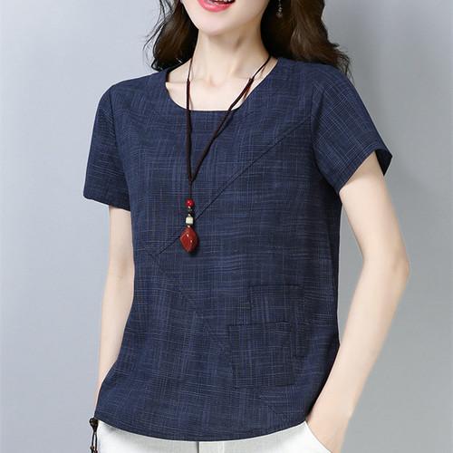 Women's Summer Blouses 2018 New Vintage Linen Cotton Ladies Tops Casual Loose Short Sleeve Shirt Female Plus Size Women Clothing