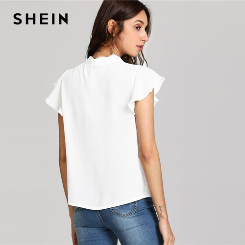 18330ccd4ea5 SHEIN White Knot Floral Lace Yoke Top Women Stand Collar Ruffle Butterfly  Sleeve Plain Blouse 2018