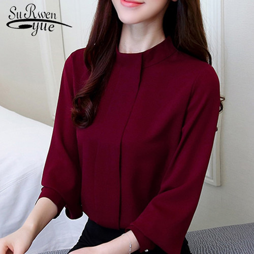 Women's Clothing 2018 New Autumn Long Sleeves Fashion Casual Chiffon Women Blouses Shirt Striped Printed Office Lady Blouse Tops Blusas C924 30 High Standard In Quality And Hygiene