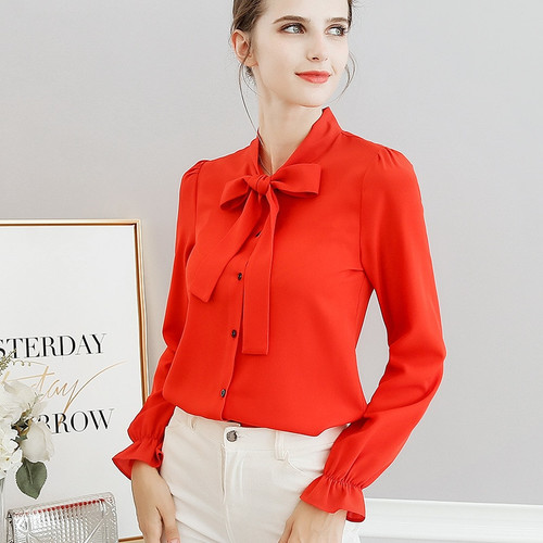 White Red Blue Women Shirts 2018 Spring Summer Blouse New Sweet Fashion Plus Size Women's Casual Slim Long Sleeve Shirt Bow Tops