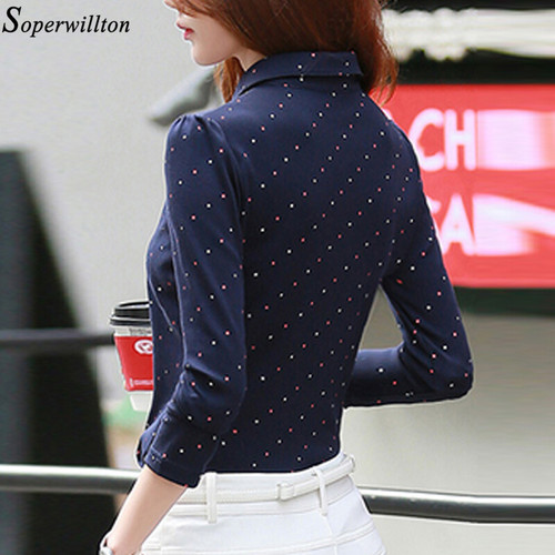 100% Cotton Shirt Work Wear Women Lady Blouse Office 2018 Autumn Winter Plus Size Top Polka Dot Long Sleeve Female Clothing G06