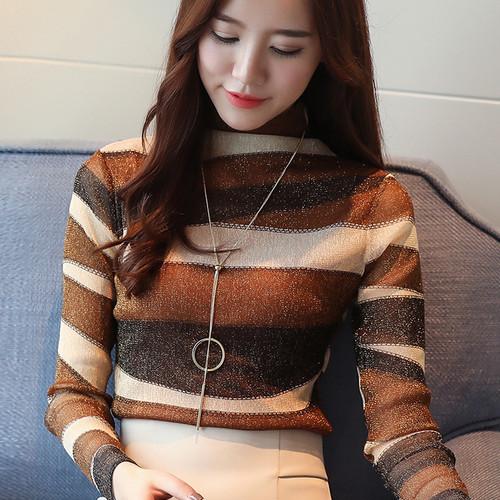 2018 fashion striped women shirts blouse turtleneck net yarn women's clothing long sleeve plus size feminine tops blusas 821E 30