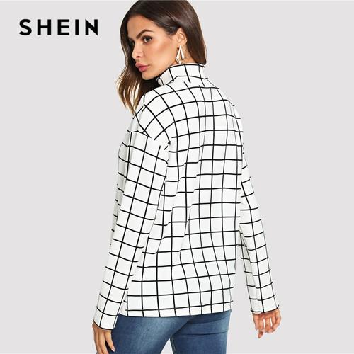 SHEIN Black and White High Neck  Plaid Grid Print Blouse Elegant Long Sleeve Highstreet Blouses Women Autumn Top Blouse